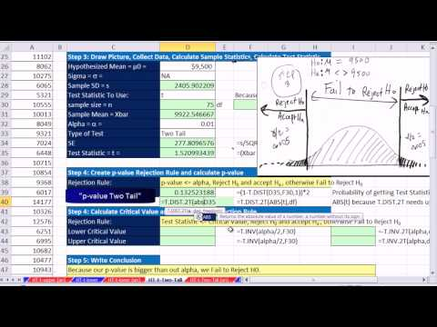 Excel 2013 Statistical Analysis #59: 2 Tail Mean Hypothesis T Test: P-value & Critical Value