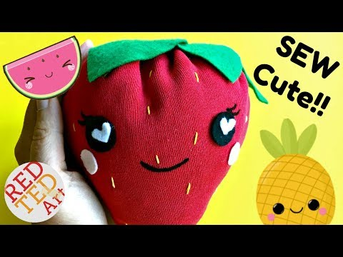 How to Sew a Strawberry Plushie   Easy Sewing Project DIYs   Upcycled DIY