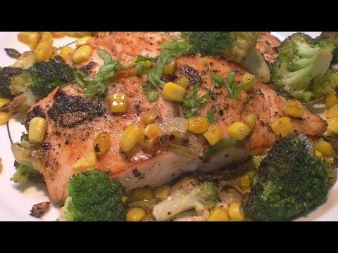 Pan Fried Salmon w Fried Corn & Broccoli