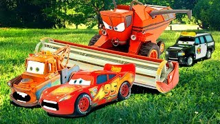 Disney Cars Lightning McQueen & Mater Tractor Tipping FUN Chased by FRANK Disney Short Tall Tale