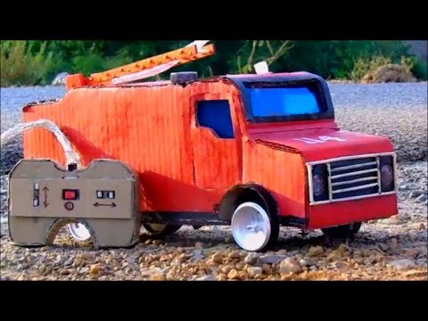 How to make RC Fire Truck  with Cardboard - Diy Remote control car at home - crazy creation