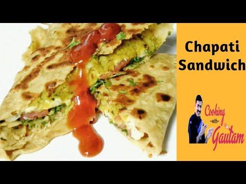 chapati Sandwich, Kids tiffin box recipe