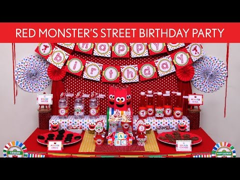 Red Monster's Street Birthday Party Ideas // Red Monster's Street - B122