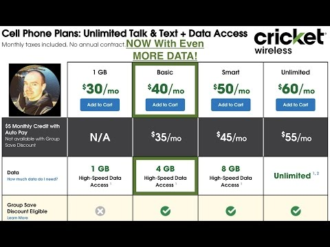 Cricket Wireless NEW $40 Basic Plan Change Now Includes 4GB Of Data!