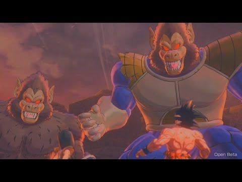 Dragon Ball Xenoverse 2 Beta - Goku vs Nappa Ape Form Vegeta Ape Form Boss Fight (Earth's History)