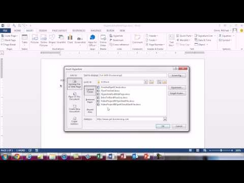 Office 2013 Class #07: Word Hyperlinks & Save As Web Page