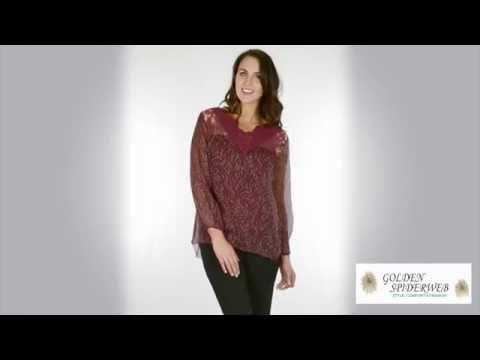 Lace Velour Silk Top ( Wine )