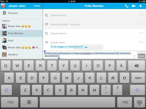 How to add people to a conversation on iPad (Skype)