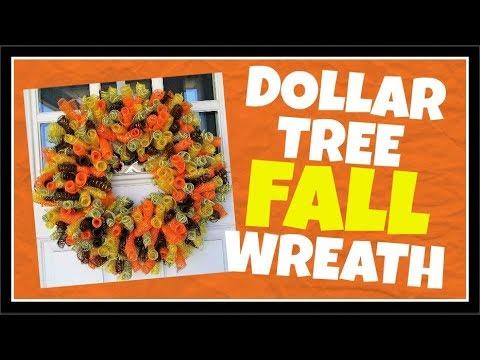$14 Dollar Tree DIY Deco Mesh Fall Wreath Tutorial