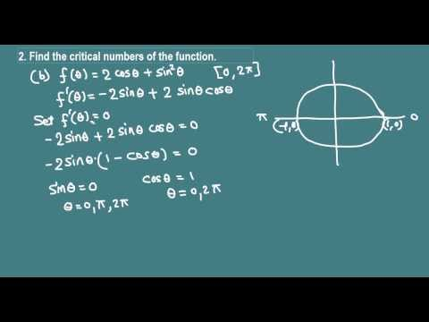 Critical numbers of a trigonometric function