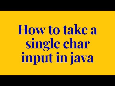 How to take a single char input in java