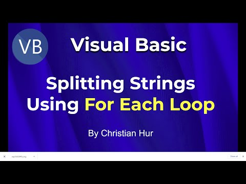 Visual Basic Programming - For Each Loop and Splitting Strings into Arrays