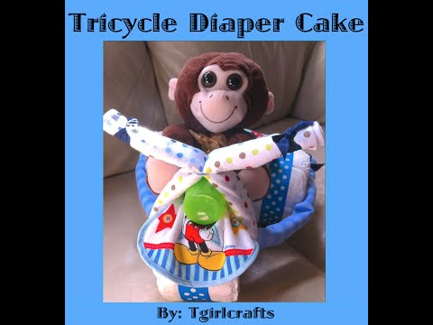How to make a Tricycle Diaper Cake for a Baby Shower