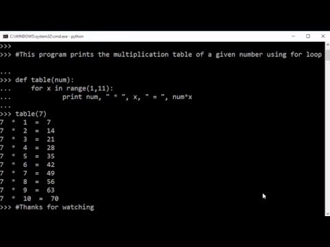 How to generate a multiplication table using for loop in Python