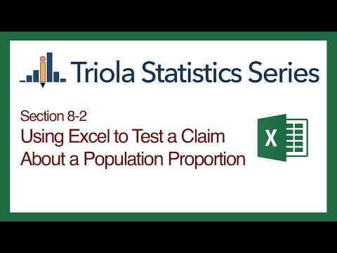 Excel Section 8-2: Using Excel to Test a Claim About a Population Proportion