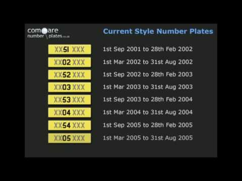 Current style UK number plate issue dates