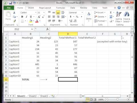 How to total rows and columns in Excel