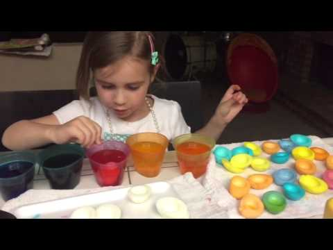 Making colored deviled eggs for Easter
