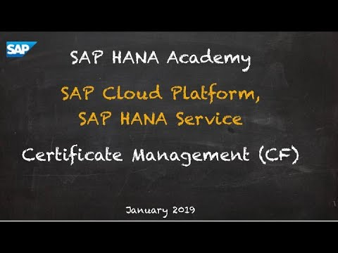 [2.0 SPS 04] SAP HANA Service, Security, Certificate Management (CF) - SAP HANA Academy