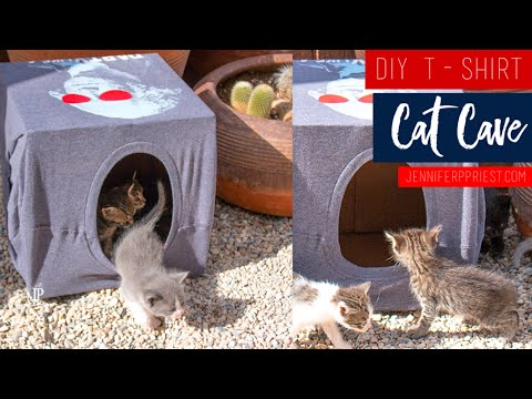 DIY T-shirt Cat House #TipsyElves by Jennifer Priest