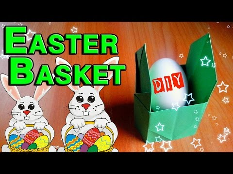 DIY How To Make Easter Basket For Children. Paper Craft Ideas For Easter Day. Hand Made Tutorial