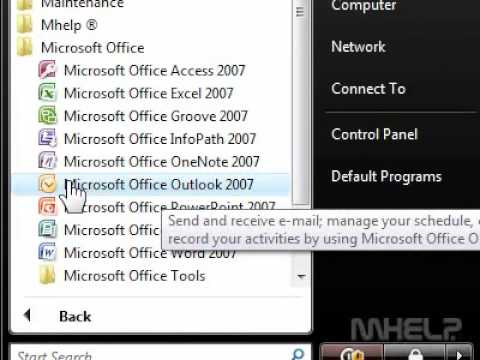 How to create a desktop shortcut for Outlook 2007