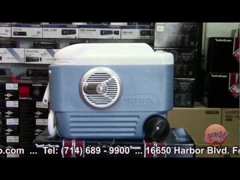 Ice Chest Cooler with Alpine Kenwood Marine Sound System