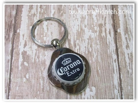 DIY Father's Day Beer Bottle Cap Keychain