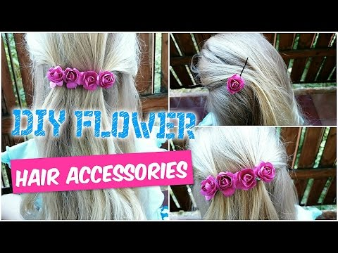 DIY FLOWER HAIR ACCESSORIES ♥  Bobby Pins Barrette Hair Clip │Spinki kwiatki do włosów!