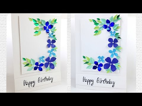 Greeting card for women's / mother's day flower designs making ideas tutorial easy / for friend