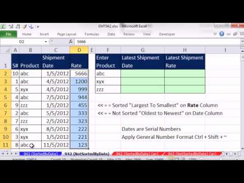 Excel Magic Trick 942: Lookup Last Shipment Date For Customer, Sorted & Not Sorted Date Column