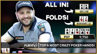TOP 6 MOST CRAZY POKER HANDS OF ALL TIME!