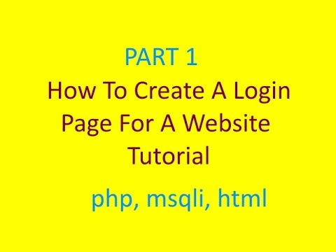 How to Create a Website Login Page Tutorial | Part 1