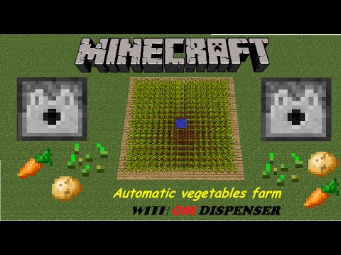 Minecraft:Automatic vegetables farm with ONE DISPENSER