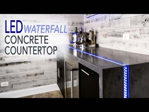 Waterfall Concrete Countertop w/ LED River Inlay || Mancave Ep 1 || DIY