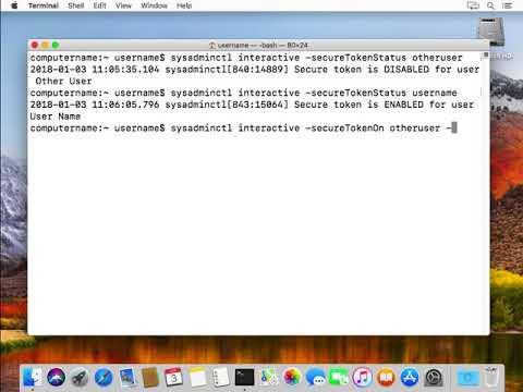 sysadminctl interactive secureTokenOn otheruser