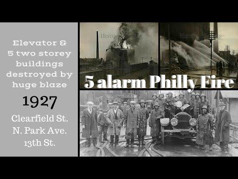 5 alarm Philly Fire, Huge 6 building Blaze, 1927