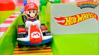 Mario Kart Hotwheels Race Car Toy Learning Video for Kids!
