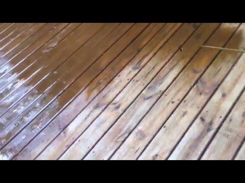 Gray Away Deck staining with a Shrflo12V sprayer