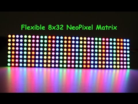 Flexible 8x32 NeoPixel (WS2812B ) RGB LED Matrix  Demo