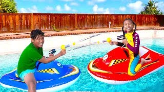 Wendy & Michael Playing with Inflatable Boat Swimming Pool Toy for Children
