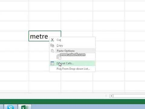 How to write square in Excel 2007