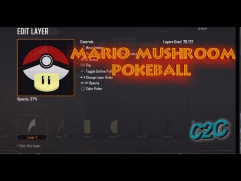 Black Ops 2 Emblem Tutorial - Mario Mushroom (PokeBall Style)!!