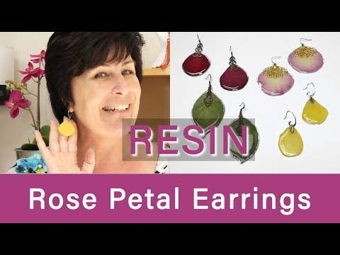 Resin Rose Petal Earrings
