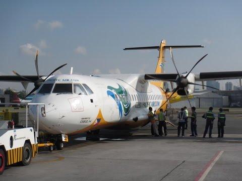 Cebu Pacific Air ATR 72 Flight MNL - WNP Carmarines Sur Take off and Landing