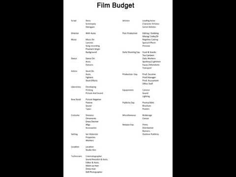 How To Create Film Budget