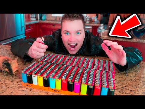 LIGHTING 2,000 LIGHTERS ON FIRE EXPERIMENT (MASSIVE EXPLOSION)