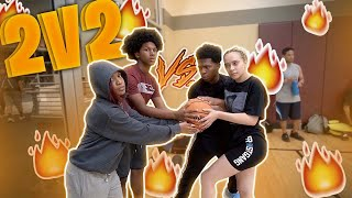 Download 2V2 BASKETBALL WITH MY GIRLFRIEND VS MY LIL BROTHER AND SISTER! *Hilarious* Video
