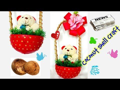 Coconut Shell Craft   Show piece   DIY gift idea   Craft from waste  diy crafts   diy show pieces