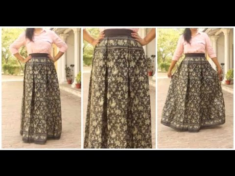 Box Pleated Skirt From Old Saree | DIY Skirt